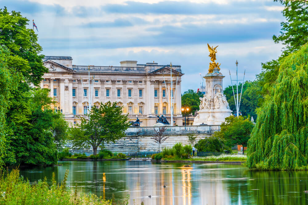 Buckingham Palace seen from St. James Park in London