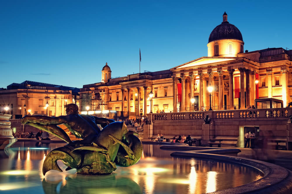 The National Gallery and Trafalgar Square, London